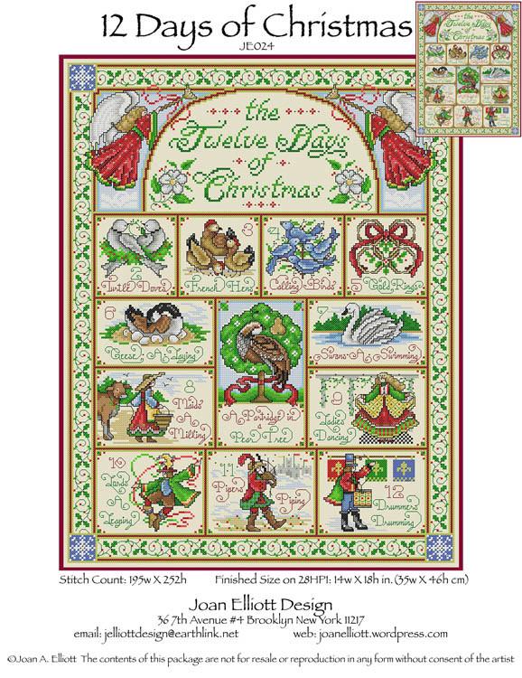 12 Days Of Christmas Cross Stitch.12 Days Of Christmas Joan Elliott Cross Stitch Pattern