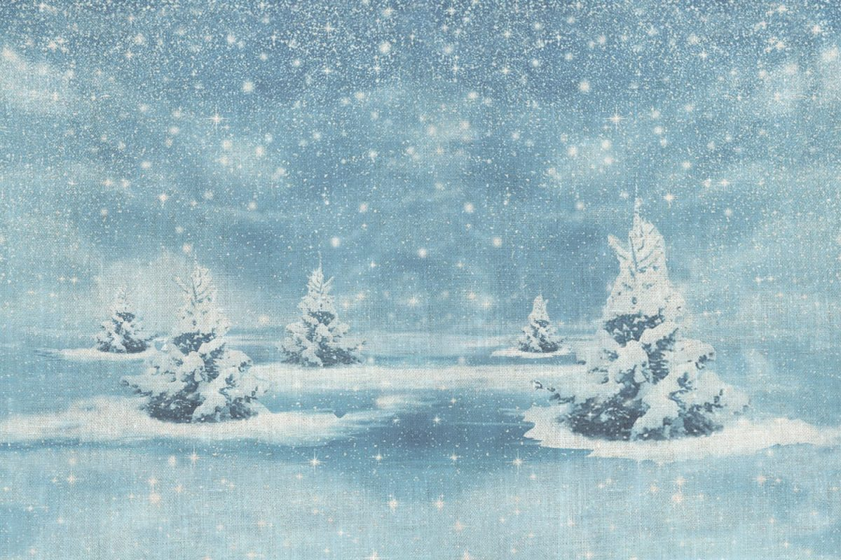 Snowy Christmas Trees Fabric For Mirabilia Snow Queen