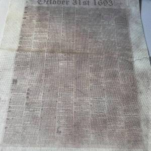 October 31st, 1693 Newspaper Fabric