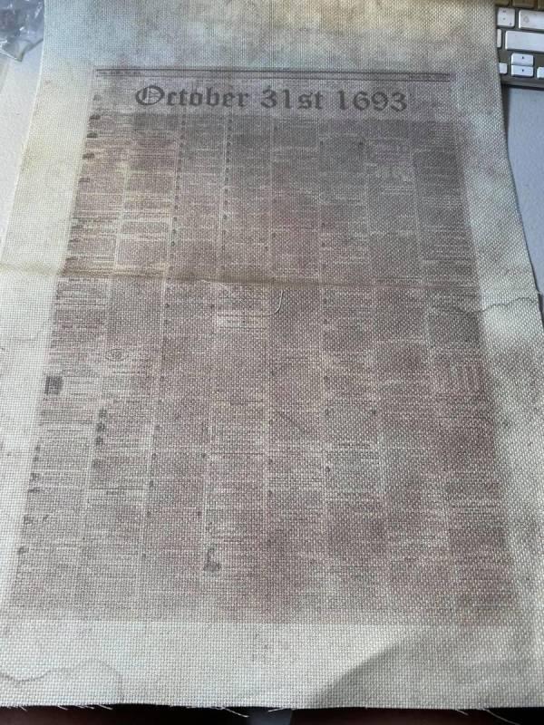 October 31st, 1693 Newspaper Fabric